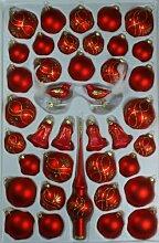 Sortiment mit Formglocken rot matt Ranken 39 Teile