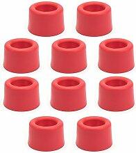 Sossai 10 x Türstopper/Türpuffer TS1-25 | Modell: Anke 2 | Farbe: Rot | Wandschutz Geeignet für Bodenmontage Material: Kunststoff TPE