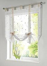 Souarts Beige Blumen Transparent Gardine Vorhang