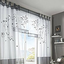 Souarts Grau Stickerei Blumen Transparent Gardine