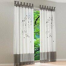 Souarts Grau Stickerei Transparent Gardine Vorhang