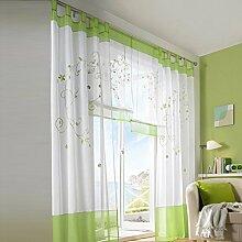 Souarts Grün Stickerei Blumen Transparent Gardine
