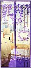 Souarts Lila Fliegengitter Magnetvorhang für Türen Insektenschutz Türvorhang Moskitonetz mit Magnetverschluss 90*210cm(B*H)