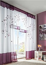 Souarts Lila Stickerei Transparent Gardine Vorhang