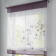 Souarts Stickblume Gardine Raffgardinen Vorhang