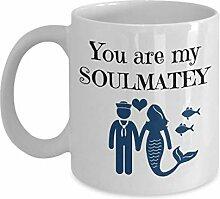 Soul Mate Tasse mit Meerjungfrau, Zitat von