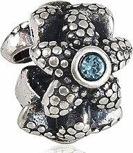 Soulbead Anhänger/Charm, Stern-Design, drei Seiten, Aquamarin-Kristall in echtem 925Sterling-Silber, geeignet für 3mm Schlangenkette