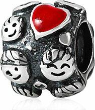 soulbead Happy Familienbande Charme mit Emaille rot Herz Echt 925Sterling Silber Bead für European Armband Schmuck