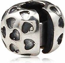 Soulbead Stopper-Bead / Charm, Herz-Design, 925erSilber, für Armband im europäischen Stil