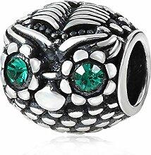 soulbead Wise Eule Charm Genuine Sterling Silber mit Smaragd österreichischen Kristall für Heimwerker europäischen Armband Schmuck