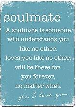 Soulmate–Blau. Metall Wandschild Aufschrift