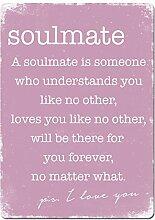 Soulmate–Pink. Metall Wandschild Aufschrift