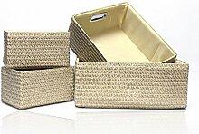 Sounagary Der Ablagekorb Auf Dem Stroh Aufbewahrungsbox Box Box Desktop Kleiderschrank Verbrauchsmaterialien Aufbewahrungsbox, Tuba (39 * 32 * 15 Cm), Beige
