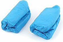 sourcingmap® 100Stk Haushalt CPE elastische Band Einweg Teppich sauber Schuhe Abdeckung blau