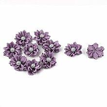 sourcingmap® 10stk Nachahmung Perle Dekor DIY Verzierung Band Blume Licht lila 40 x 40mm