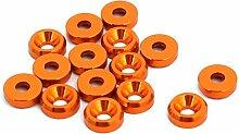 sourcingmap® 15Stk M2 Alu Motor Bucht Hatch Deckel Stoßfänger Fender Unterlegscheibe Orange