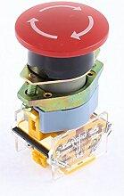 sourcingmap® 1NO 1NC rot Zeichen Pilz Notfall halten Druckknopf Schalter Ui 660V 10A schwarz
