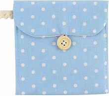 sourcingmap® 2 Stk Leinen Punkt Muster Knopf Verschluss Sanitär Lagerung Tasche hell blau