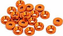 sourcingmap® 20Stk M2 Alu Motor Bucht Hatch Deckel Stoßfänger Fender Unterlegscheibe Orange
