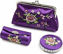 sourcingmap 3 In 1 Lila Stickerei Spiegel Lippenstift Geldbörse Set Schminken Aufbewahrungsbox