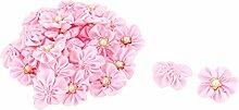 sourcingmap 30 Pcs Nachahmung Perlen Dekor Handarbeit DIY Kleid Hut Ornament Band Blume Rosa