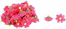 sourcingmap® 50Stk Garten Stoff Gänseblümchen Form DIY Dekoration Tisch Blume Kopf Fuchsie