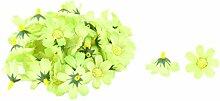 sourcingmap® 50Stk Garten Stoff Gänseblümchen Form DIY Dekor Tisch Blume Kopf Gelb Grün