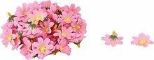 sourcingmap® 50Stk Haushalt Stoff Gänseblümchen Form DIY Dekoration Tisch Blume Kopf Rosa