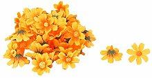 sourcingmap 50Stk Haushalt Stoff Gänseblümchen Form DIY Dekoration Tisch Blume Kopf Orange