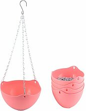 sourcingmap® 5Stk Rosa Plastik Hängen Blume Topf Kette Pflanze Halter Haus Garten Dekor