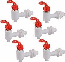 sourcingmap® 6 Stk. Haushalt Haus Büro Plastik Drucktyp Wasserspender Hahn Weiß Ro