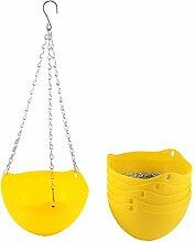 sourcingmap® 6Stk Gelb Plastik Hängen Blume Topf Kette Pflanze Halter Haus Garten Dekor