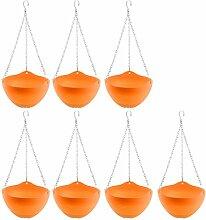 sourcingmap® 7Pcs Balkon Plastik DIY Kette hängend Kaktus Blumentopf Halter Behalter orange
