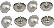 sourcingmap 8 Stücke 40mm Durchmesser 304 Edelstahl Gewölbter Kopf Spiegel Schrauben Kappe Nägel Silber Ton