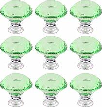 sourcingmap® 9Stk Haushalt Kristallglas Möbel Schrankgriff Knöpfe grün 1,2 Zoll Äußere Dmr.
