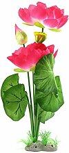 sourcingmap® Aquarium Dekor Blume Pflanze Wasserlandschaft Dekor Ornament dunkelrosa
