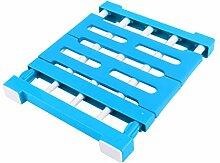sourcingmap® Blau Hause Plastik ausziehbar Nagelfrei Diverses Lagerung Regal Trennwand