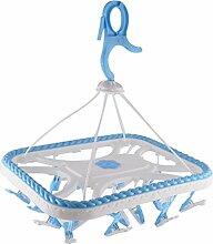 sourcingmap® Blau Kleider Socken Unterwäsche Hangen Plastik Frame Kleiderbügel Trockner Rack