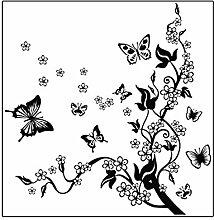 Sourcingmap Blume Design Home Schlafzimmer Wand Aufkleber DIY Aufkleber Decor Schwarz