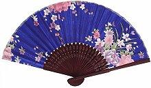 sourcingmap® Chinese Blumenmuster Sommer Tanz Stoff Falten Hand Ventilator Königsblau