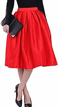 sourcingmap® Damen Hohe Taille Design Plissiertes Detail Langer Rock - Rot, Damen, S (36)