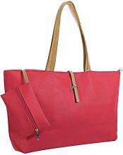 sourcingmap® Damen Kontrast Farbe Design Nicht glatt Kunstleder Handtasche mit Beutel