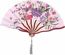 sourcingmap Damen Polyster Quaste Anhänger Kleiderbügel Dekor tanzen Handfächer rosa