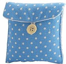sourcingmap® Damen Punkt Muster Rechteck Form Knopf Schließung Sanitär Pad Halter Tasche Blau