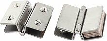 Sourcingmap® Dusche Glas Tür verstellbar Doppel-Klammer Scharnier Silber Ton 2
