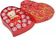 sourcingmap® Geschenk Herz-Form Box künstliche Rose Dekoration Baden Seife rot 22 in 1