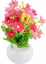 sourcingmap® Haus Keramik Blumentopf Tisch Ornament Künstliche Emulational Fuchsie Rosa