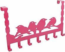 sourcingmap® Haus Vogel Design rostfreier Stahl Tür selbstklebender Haken Aufhänger pink