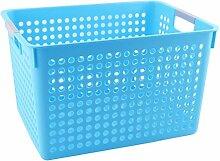sourcingmap Haushalt Badezimmer Kunststoff Rechteck Design Lagerung Warenkorb Organizer Blau