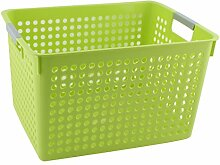 sourcingmap® Haushalt Badezimmer Plastik Rechteck Design Speicherung Korb Organiser Grün